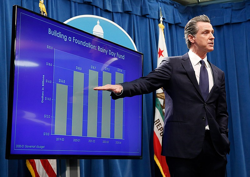 California Gov. Gavin Newsom gestures toward a chart showing the growth of th...