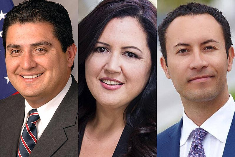Portraits of State Sen. Ben Hueso, Nora Vargas and Rafael Castellanos.