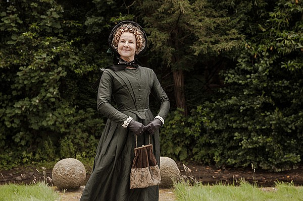 Miss Clack (Sarah Hadland) in a scene from THE MOONSTONE.