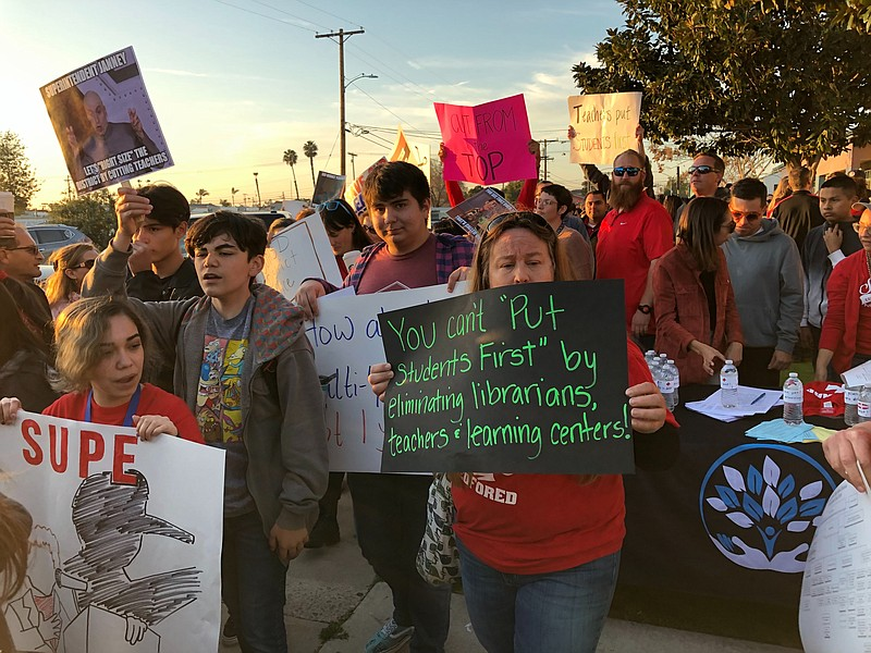 Parents, teachers and students protest on Monday, Feb. 23, 2020, Sweetwater U...