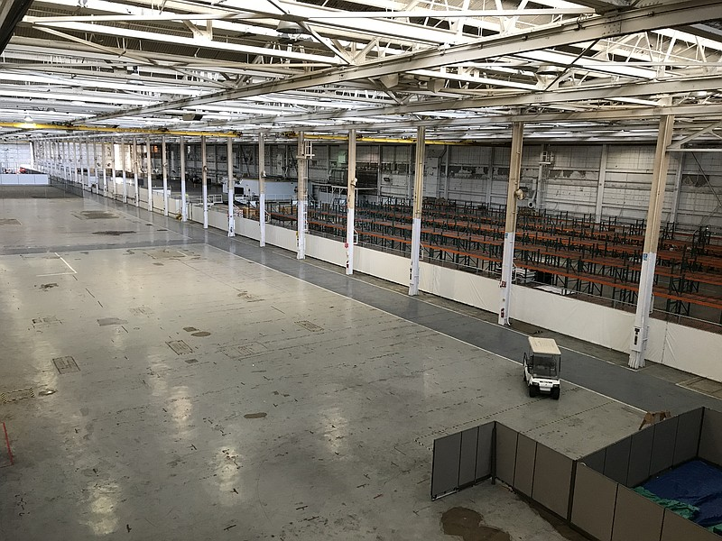An empty warehouse at the NAVWAR headquarters is seen here, Feb, 14, 2020.