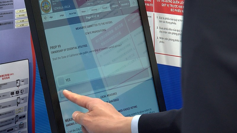 San Diego County's new touch-screen voting systems, Feb. 25, 2020.