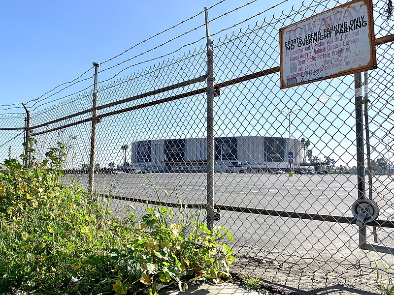 The Pechanga Arena in the Midway District is seen behind a chain link fence, ...