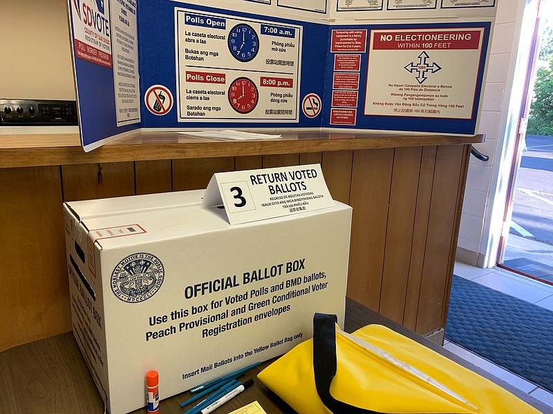 Ballot boxes at the East San Diego Masonic Temple in San Carlos on Mar. 3, 2020.