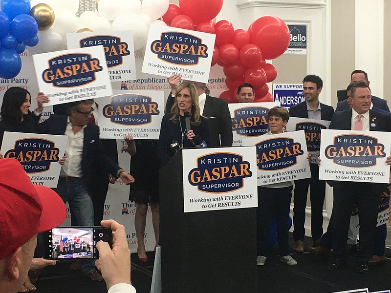 County Supervisor Kristin Gaspar at Republican watch party at the U.S. Grant ...