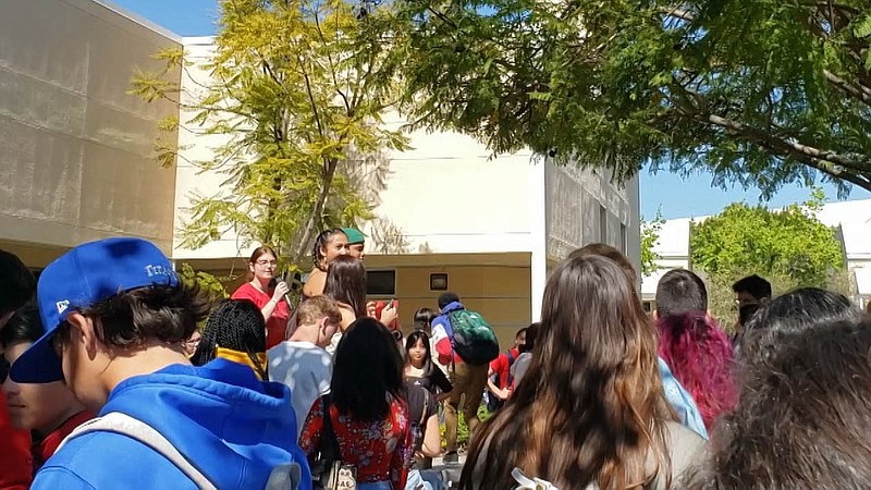 Students staged a walkout Tuesday, March 3, 2020, at East Lake High School to...