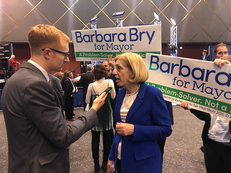 Barbara Bry speaking to Andrew Bowen at Golden Hall on Mar. 3, 2020.