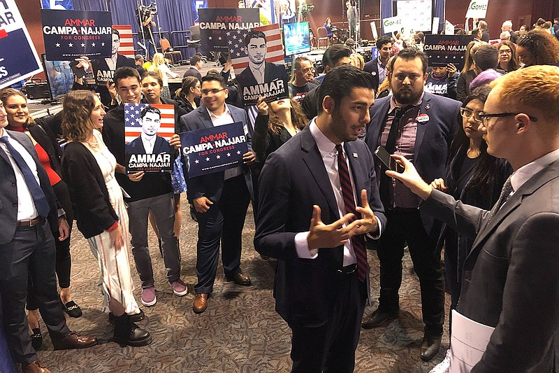 Ammar Campa-Najjar, a candidate for the 50th Congressional District, speaks t...