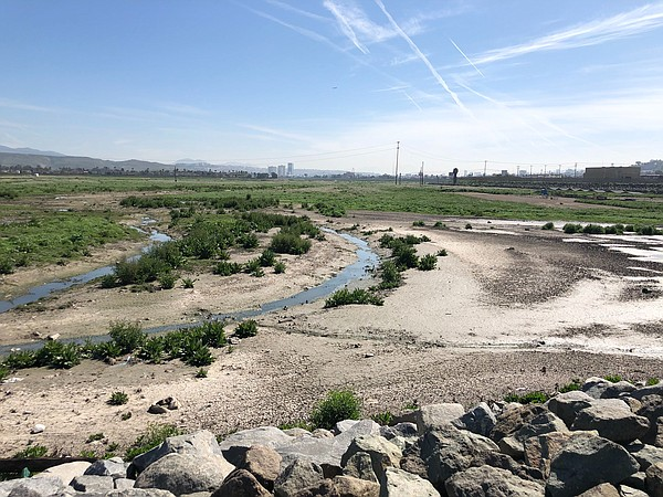 Water moving through the Tijuana River Valley on the U.S....