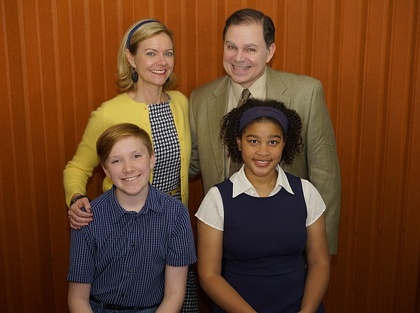 Levi Laddon and Ava Harris (front), and Lisel Gorell-Getz...