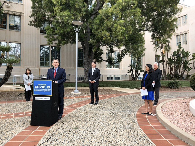 San Diego county leaders announcing the launch of the San Diego COVID-19 Comm...