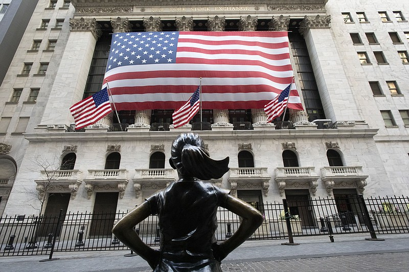 The Fearless Girl statue stands in front of the New York Stock Exchange, Mond...
