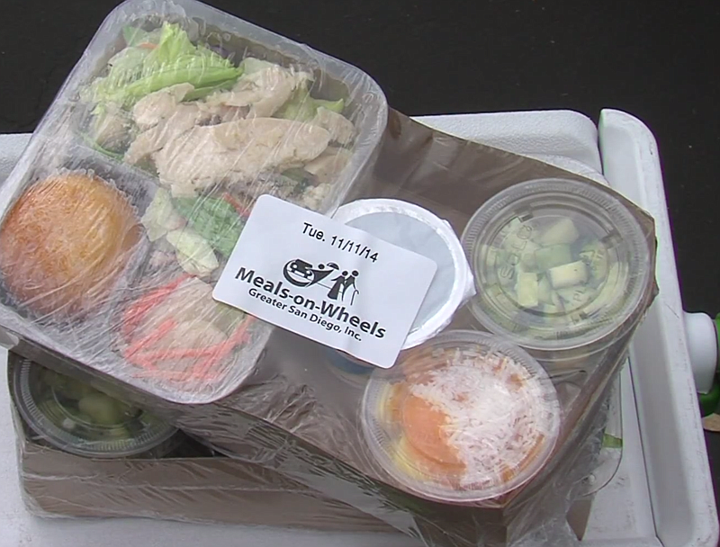 A meal from Meals on Wheels is ready for delivery in this photo from 2014.