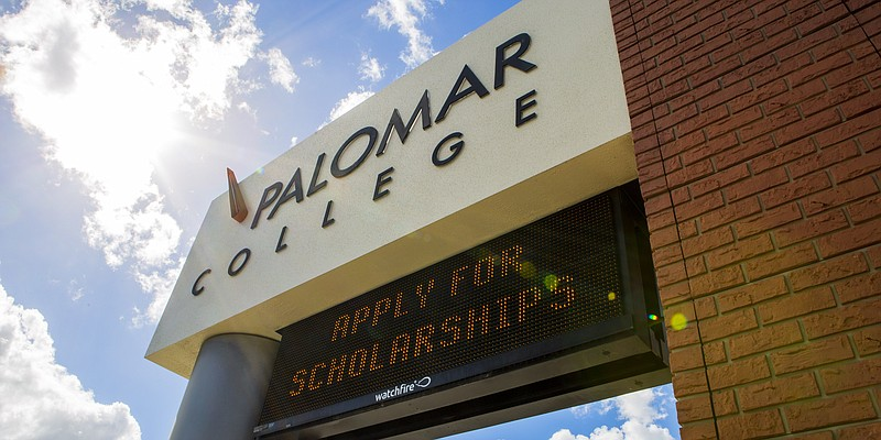 A Palomar College sign is shown on Feb. 16, 2019.