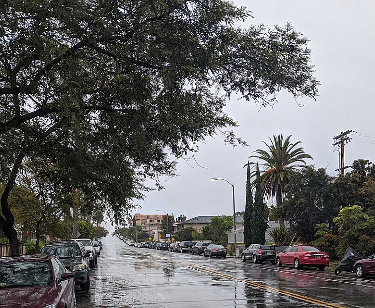 A rainy street in Golden Hill, San Diego is pictured in this photo, March 18,...