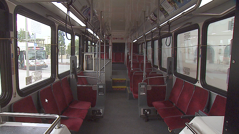 Seats on an MTS bus are empty, March 19, 2020.