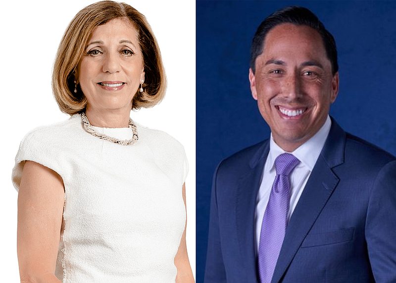 San Diego mayoral candidates Barbara Bry and Todd Gloria are seen in campaign...