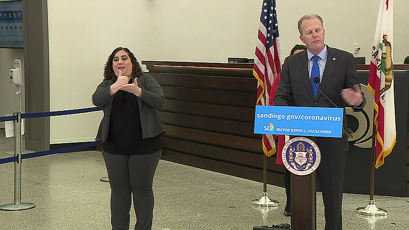 San Diego Mayor Kevin Faulconer giving an update on the coronavirus at City H...
