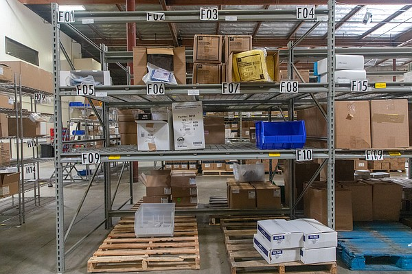 Medical supply shelves in the Family Health Centers' ware...