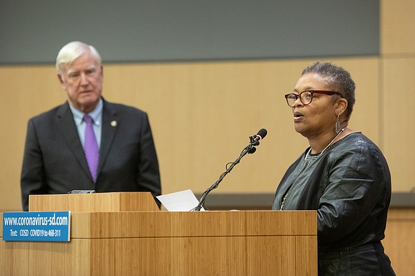 Public Health Officer Dr. Wilma Wooten speaks at a San Di...