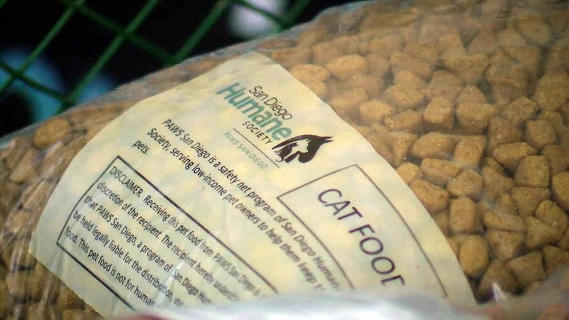 A bag of cat food from the San Diego Human Society. The society was distribut...