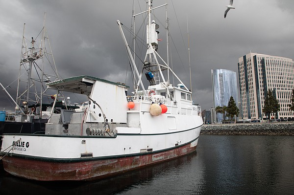 Boats remain docked in San Diego's Tuna Harbor, March 18,...