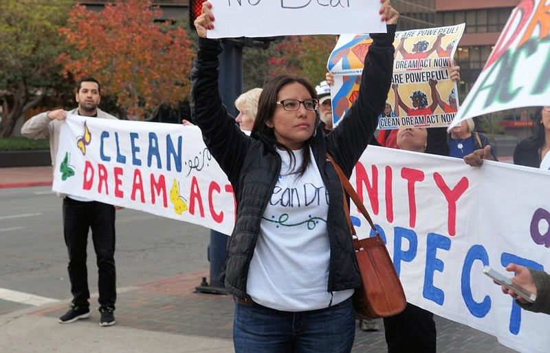 Immigrant activist and attorney Dulce Garcia at a protest in San Diego, Novem...