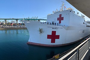 Photo for USNS Mercy Hospital Ship Arrives At Port of Los Angeles