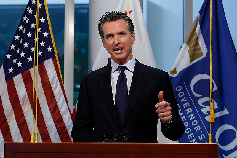 Gov. Gavin Newsom updates the state's response to the coronavirus, at the Gov...