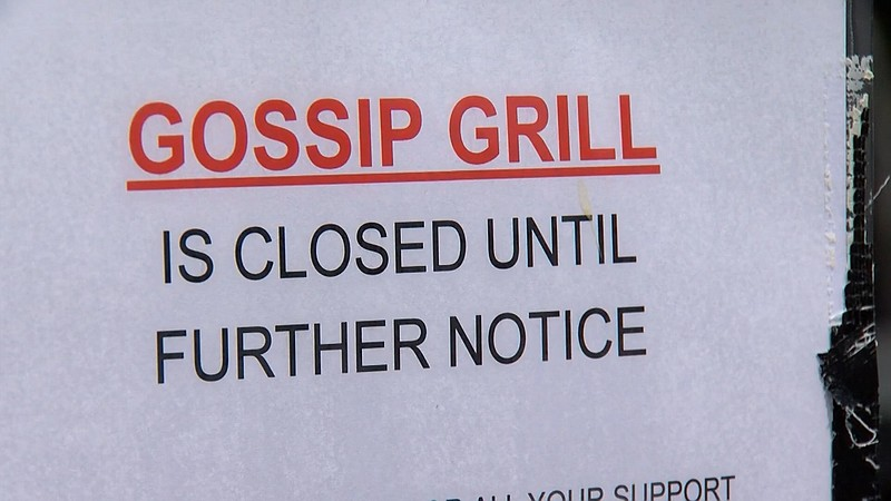 A closed sign outside of Gossip Grill in Hillcrest on April 2, 2020. The eate...
