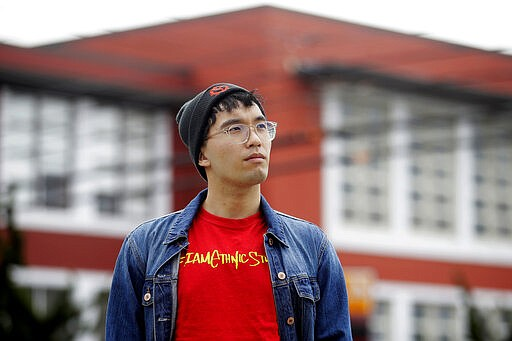 In this March 31, 2020, photo, Kyle Navarro poses in San Francisco. The schoo...
