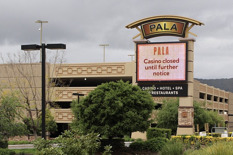In this undated photo, a screen outside Pala Casino Resort announces its clos...