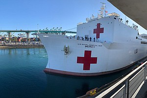 Photo for Hospital Ship Mercy Departs Los Angeles Harbor For San Diego