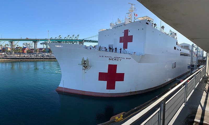 The USNS Mercy at the Port of Los Angeles on March 27, 2020.