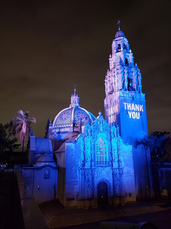 San Diego Museum of Man bathed its tower in blue light an...