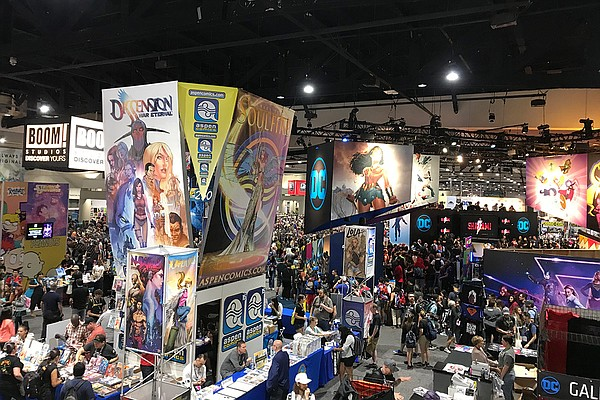 A small section of the exhibit floor at Comic-Con is show...