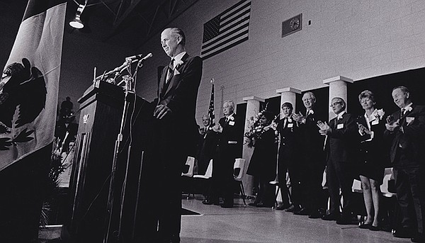 Norman Borlaug at the podium at a reception in Iowa after...