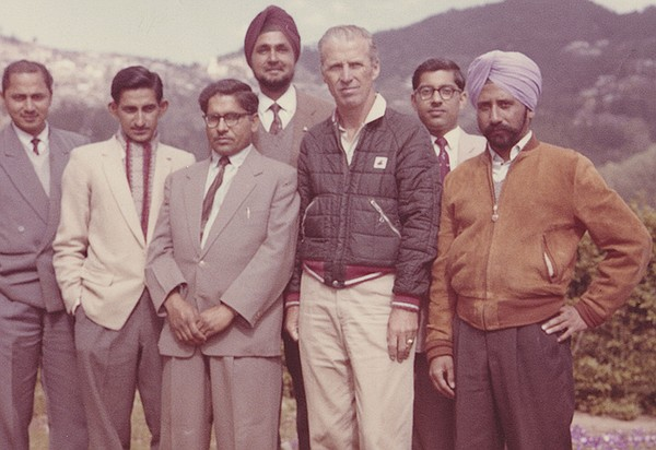 Norman Borlaug and group of men pose for a portrait. June...