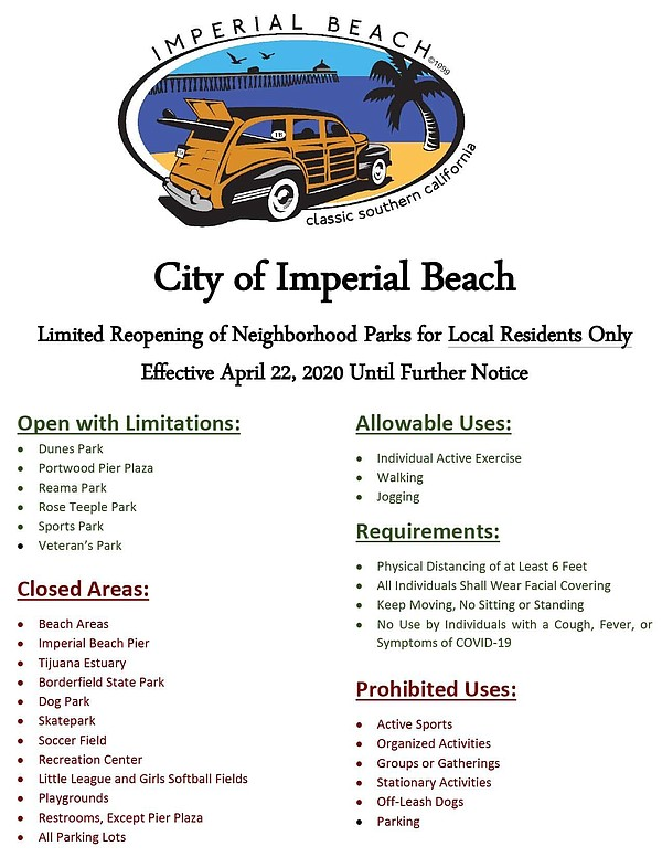 A press release from Imperial Beach regarding limited reo...