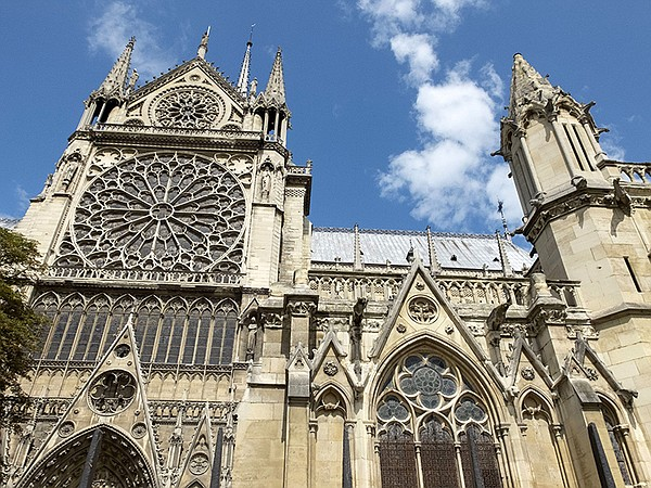 The Notre Dame cathedral in Paris, France.