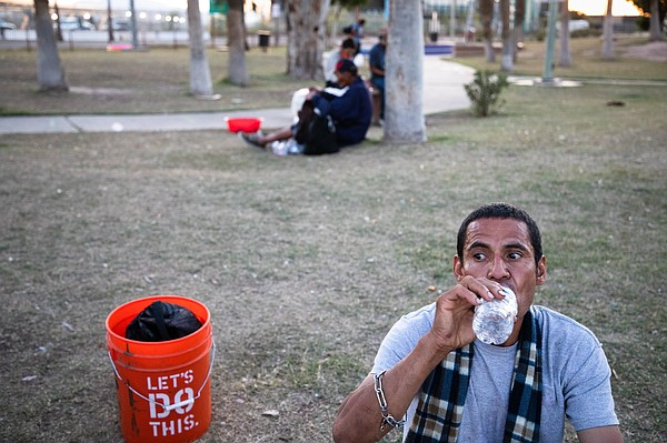 Jesse Reyes sits in Calexico's Border Friendship Park dur...