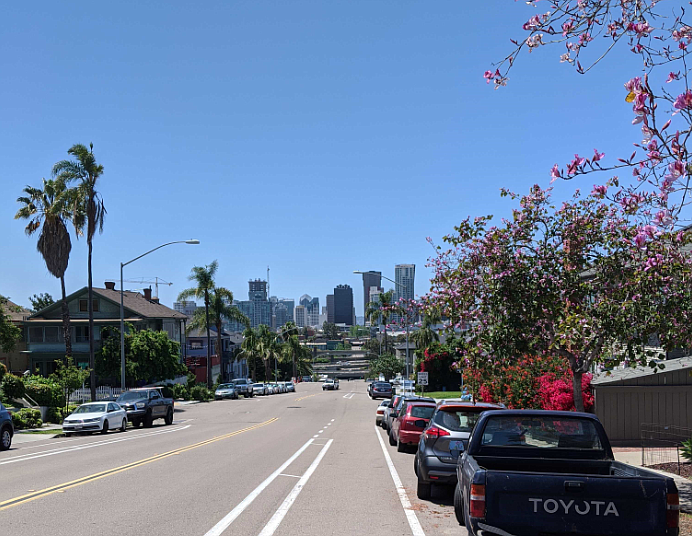 A view of the downtown San Diego skyline is pictured, April 24, 2020.