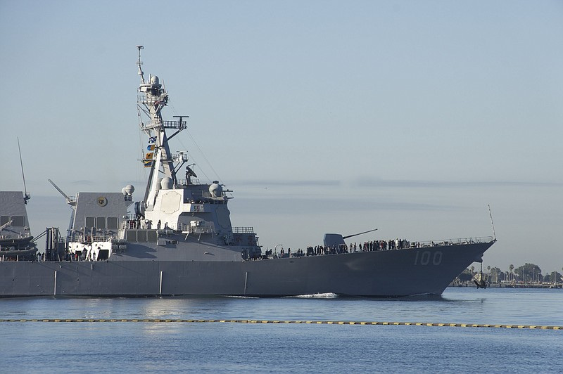 The guided-missile destroyer USS Kidd departs San Diego Bay on Feb. 4, 2011.