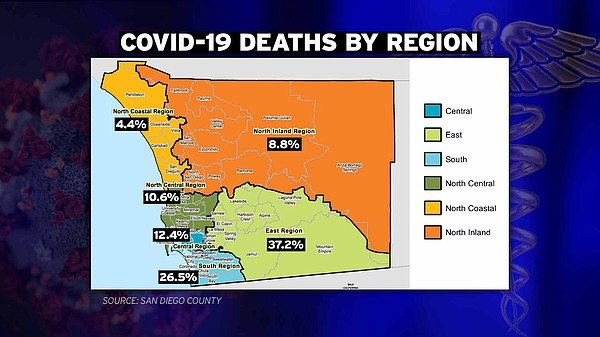 A map showing the deaths due to COVID-19 in San Diego Cou...