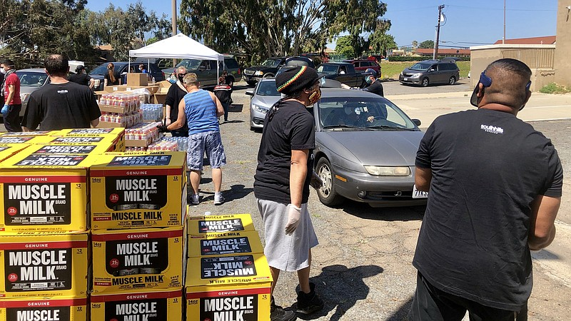 South Hills Church in San Diego's Southbay holding a drive through food distr...