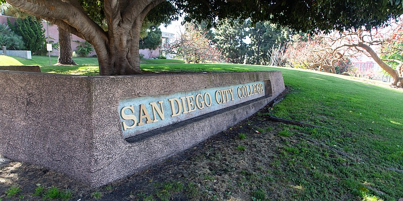 The entrance of the San Diego City College campus is shown on May 4, 2020. Th...