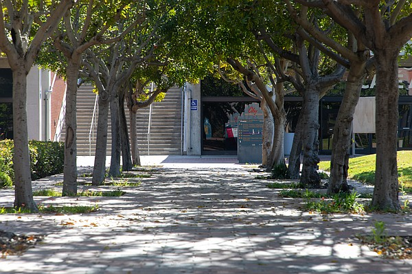 An empty walkway on the San Diego City College campus is ...
