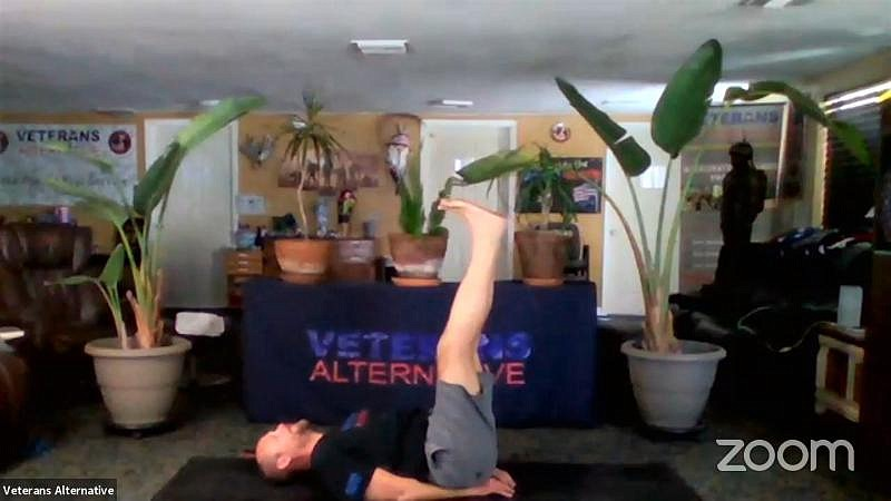 Yoga instructor Forest Spall with the Tampa-area nonprofit group Veterans Alt...