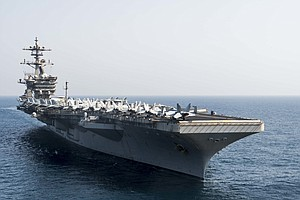 Photo for USS Roosevelt Sidelined By Coronavirus Heads Back To Sea This Week