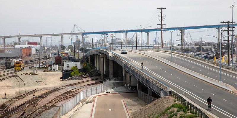 Harbor Drive and the San Diego-Coronado Bridge are shown on April 28, 2020.